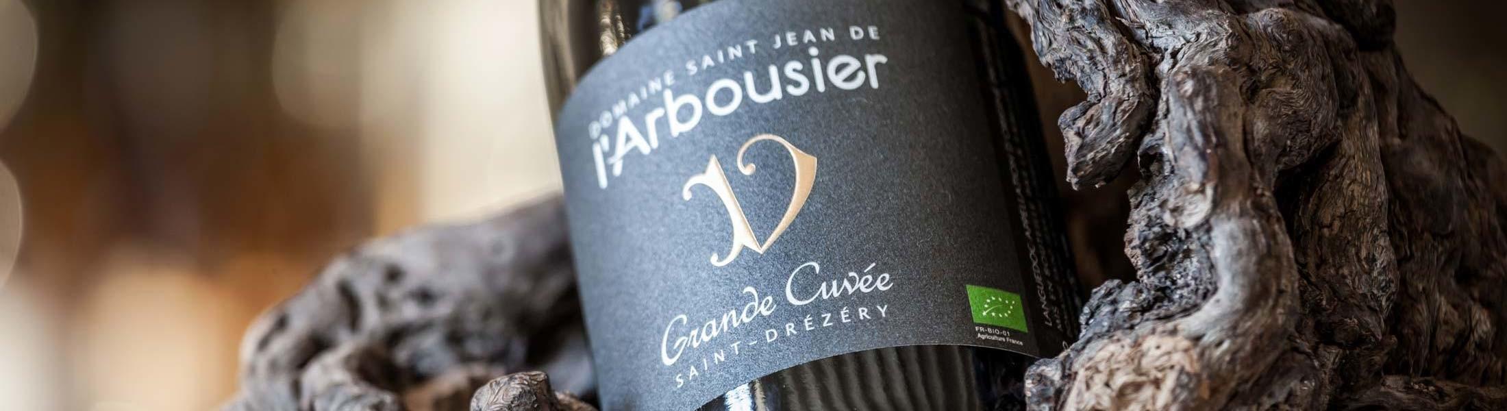 Photo bandeau - bouteille Grande Cuvée - vigne - vin bio - Domaine Saint Jean de l'Arbousier