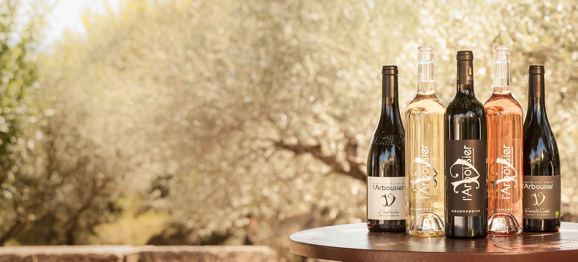 Photo - coffret - bouteilles vins biologiques - blanc rouge rosé - Domaine Saint Jean de l'Arbousier Montpellier