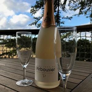 Photo - Verre et bouteille - Saint Jean de l'Arbousier - méthode traditionnelle - rosé champagnisé - bulle - vin effervescent Montpellier