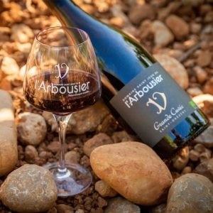 Photo - Composition Vin rouge bouteille verre - Terroir - Grande Cuvée - Domaine Saint Jean de l'Arbousier - AOP Languedoc Saint-Drézéry