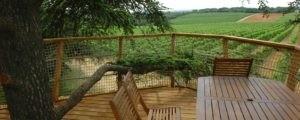Photo - Oenotourisme - cabane dans les arbres -Terrasse avec vue sur le vignoble - Domaine de l'Arbousier - Montpellier Hérault Tourisme