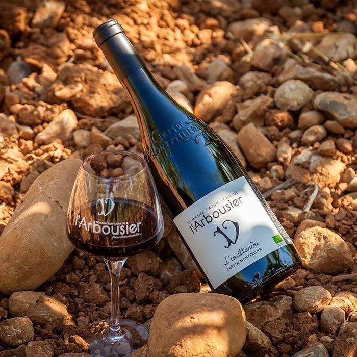 Photo - Composition Vin bouteille verre - Terroir - L'Inattendu - Domaine Saint Jean de l'Arbousier - AOC Languedoc Grès de Montpellier